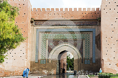 Wall gate in Meknes, Morocco Editorial Photography