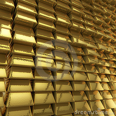 Wall of gold bars