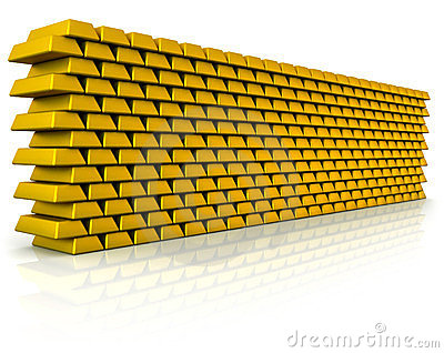 Wall of gold bullion