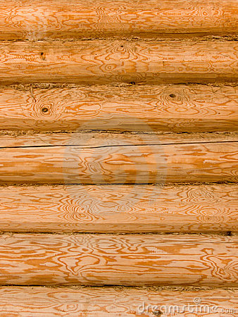 Wall of the house from logs