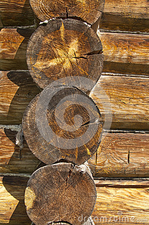 Wall of the house made ​​of logs