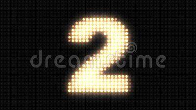Wall light countdown. On a large wall of light there is a countdown from 5 to 0 and a sharp flash at the end