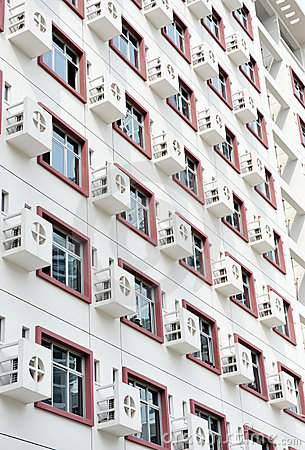 Wall with many air-conditioners