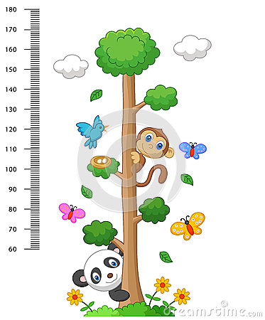 Free Wall Meter With Three And Wild Animals Cartoon Royalty Free Stock Photography - 50763457