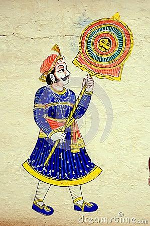 Wall painting at City Palace, Udaipur