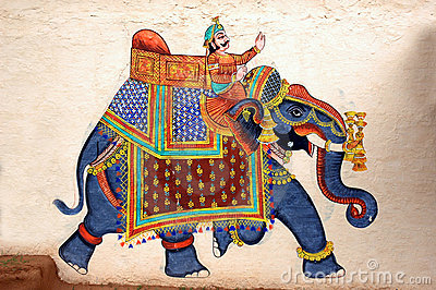 Wall painting of Elephant at City Palace, Udaipur