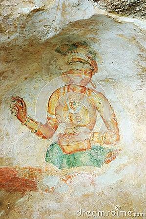 Wall painting in Sigiriya rock monastery