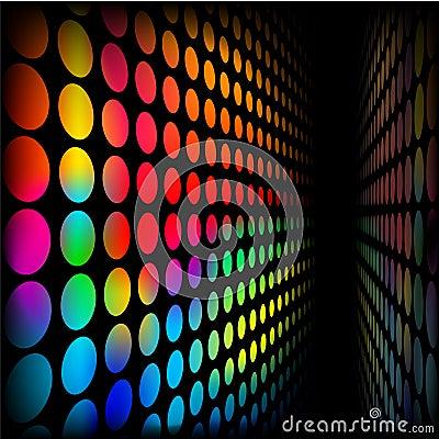 Wall of rainbow dots