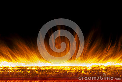 Wall of real fire flames  on black background