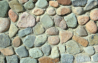 Wall of rock stones
