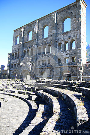 Wall of Roman Amphitheatre in Aosta, Italy