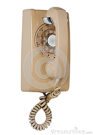 Wall rotary phone, isolated