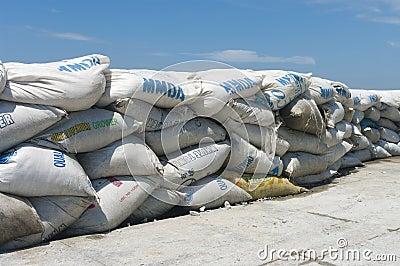 A wall of sandbags Editorial Stock Photo