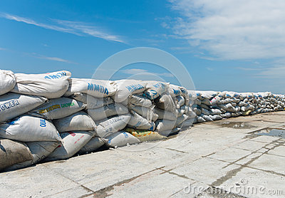 A wall of sandbags Editorial Image