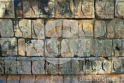 Wall of Skulls at Chichen Itza near Cancun, Mexico