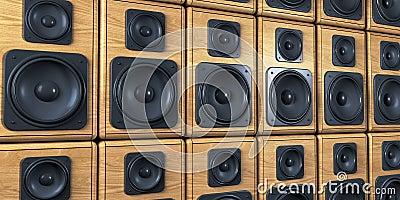Wall of speakers