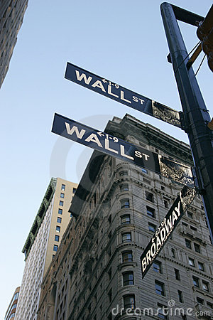 Wall St Sign - New York City Editorial Photography