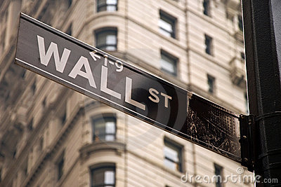 Wall Street assina dentro New York City Foto Editorial