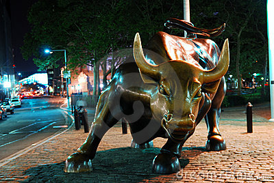Wall Street Charging Bull in New York City Editorial Photography