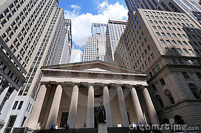 Wall Street  Federal Hall financial district Editorial Stock Photo