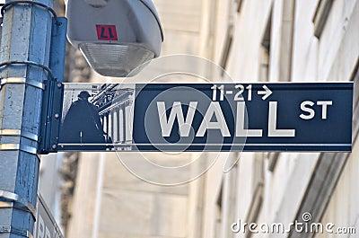 Wall Street and the New York Stock Exchange, New York City, USA.