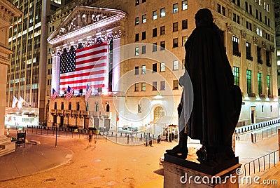 Wall Street at Night Editorial Photo