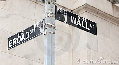 Wall Street road sign corner of NY Stock Exchange Editorial Stock Photo