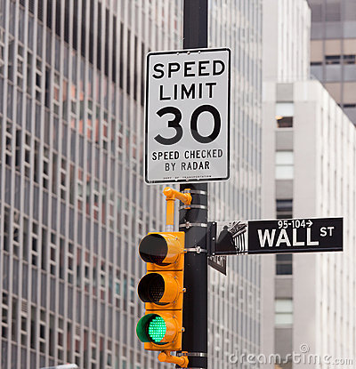 Wall Street road sign in NY Stock Exchange Editorial Photography