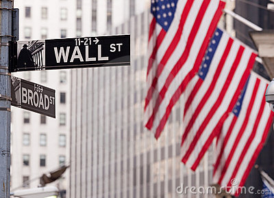 Wall Street road sign NY Stock Exchange Editorial Photography