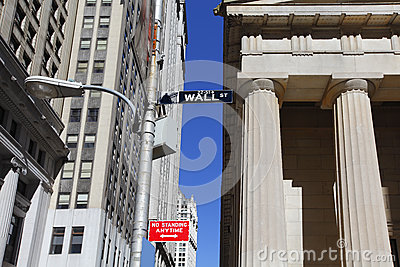 Wall Street sign Editorial Stock Image