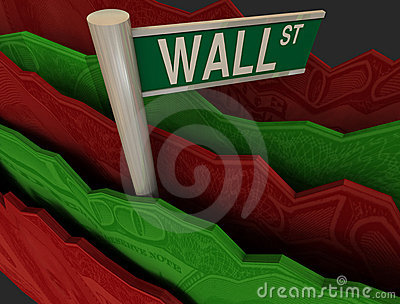 Wall Street Sign in Rough Seas