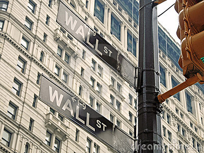 Wall street signs in New York city close-up view Editorial Photography