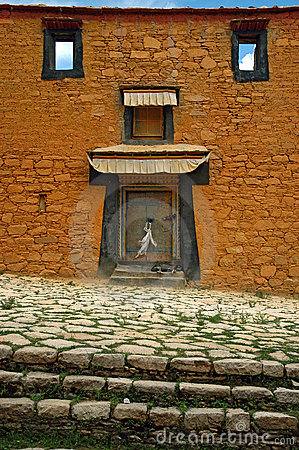 Wall From Tibet With Door