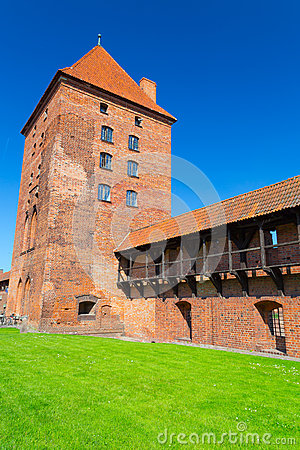 The wall and towers of Malbork castle