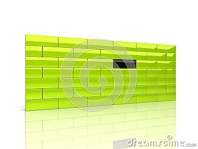 Wall with unique brick
