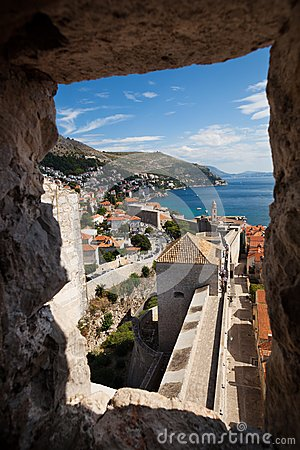 Wall view from the tower of Dubrovnik Castle