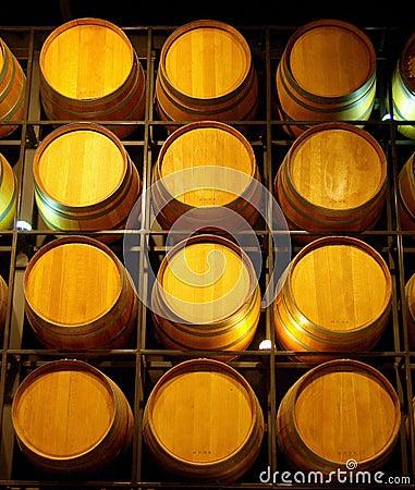 A Wall of Wine Barrels