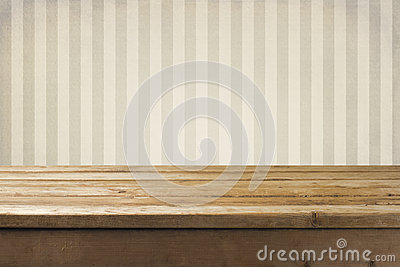 Wall and wooden tabletop