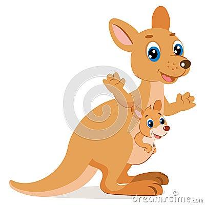 Free Wallaroo Encounter. Cartoon Animals Vector. Mother Kangaroo With Her Little Cute Baby. Stock Photography - 114709362