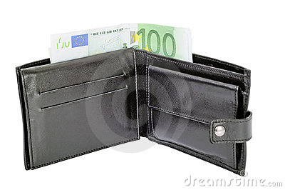 Wallet and 100 euro banknote