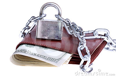 A wallet with a chain and padlock