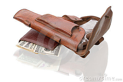Wallet with dollars and handgun