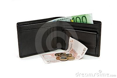 Wallet and euro banknotes and coins isolated