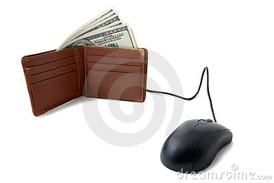 Wallet full of money with mouse