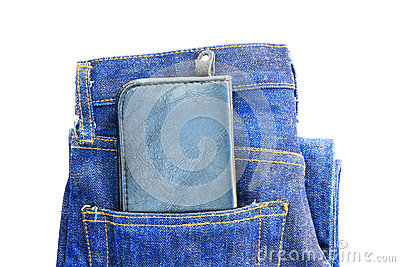 Wallet in a jeans pocket