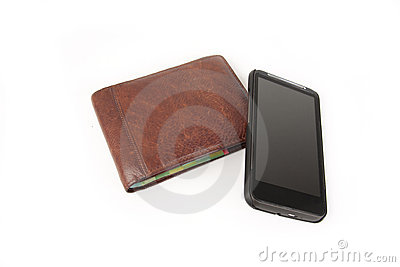 A wallet with a modern cellphone