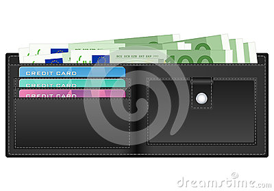 Wallet with one hundred euro banknote