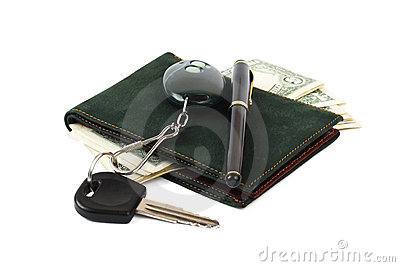 Wallet, pen and car key