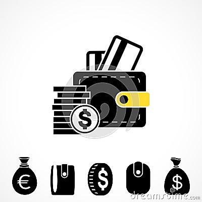 Wallet or Pocketbook Vector Icon Vector Illustration