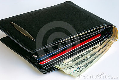 A wallet with some $20 bills and some credit cards